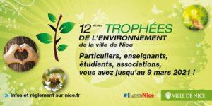 La Ville de Nice lance les 12e Trophées de l'Environnement … Inscriptions dès aujourd'hui, lundi 18 janvier jusqu'au mardi 9 mars 2021